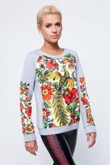 Motley sweatshirt with ethno-drawing