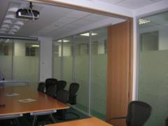 Partitions for offices with decorative films