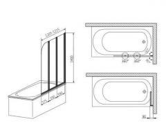 Шторка для ванны Aquaform Lugano 3 170-07002