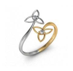 Double Trinity ring with diamonds