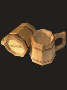 Six-sided beer mug, oak/ash-tree/pine