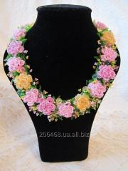 """Handwork necklace from beads """"Openwork Roses"""