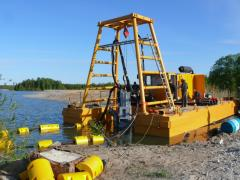 Sand recovery by the dredge with a submersibl