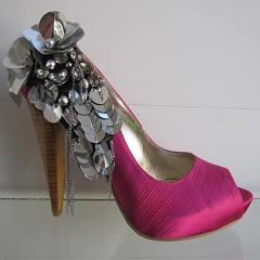 Shoes are model, barefoot persons, on a high heel,