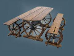 Стол и лавки (без спинок) на колесах