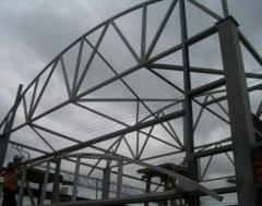 The bearing metalwork of the frame building