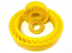 Clamping wheels polyurethane for the cardboard and