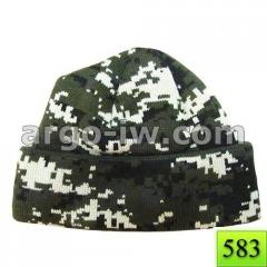 The cap is army knitted