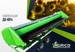 Rowless header for sunflower ZHNS on Case, Lexion