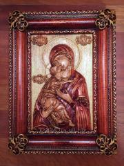 Икона деревянная резная Владимирской Божией Матери