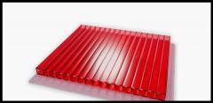 Сотовый красный поликарбонат 8 мм Polynex