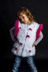 Children's vest from fur of a rabbit