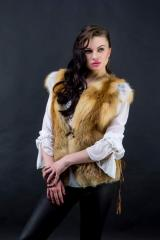 Vest from a fox with leather inserts Kharkiv
