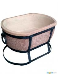 The brazier is ceramic oval