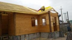 Houses from the glued and rounded bar from the