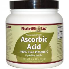 Ascorbic acid, NutriBiotic, Crystal powder, 1000