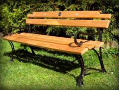 Bench park with armrests