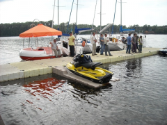 Pontoon, the mooring, pier, slip for the scooter