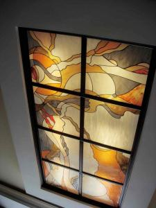 Stained-glass windows at doors, stained-glass