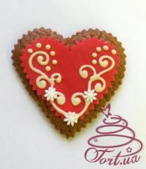 Gingerbread the Red heart with white chocolate