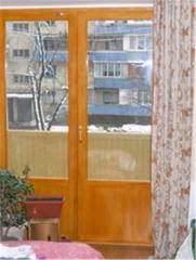 Балконная дверь с евро бруса на две двери,с