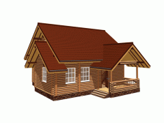 Wooden cottages from a felling from the producer
