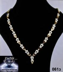 Silver necklace 061z with an insert of gold and