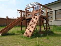 The wooden rock climbing wall from the producer