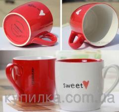 Керамическая красная чашка Сердце