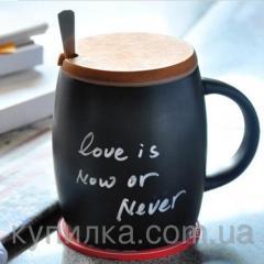 Керамическая чашка с крышкой из дерева. Starbucks