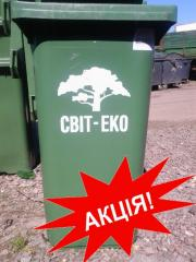 The garbage container CLD 240, with an emblem