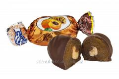 Dried apricots in chocolate candy in a wrapper