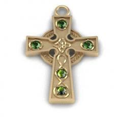 The Celtic cross with celt005p emeralds