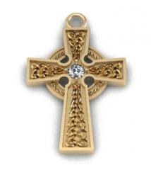 Кельтський хрест із діамантом celt005pd
