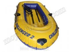 Inflatable boat of Challenger 2 with oars and the