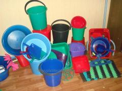 Products from plastic: bucket and covers of 5 l, 7