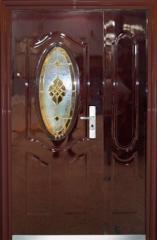 Doors 2050х1200x70 mm, entrance with glass