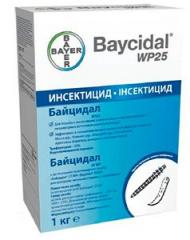 Baytsidal means for destruction of larvae of flies