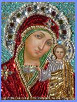 Казанская икона Божьей Матери. Икона в багете с