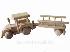 Деревянная игрушка Трактор с прицепом