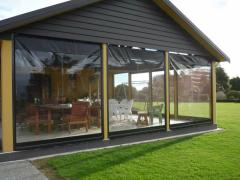 Transparent curtains of PVC for an arbor and a