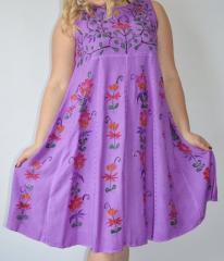 Сарафан с нарисованными цветами фиолетовый на
