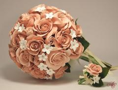 Bridal bouquet from cream Victorian roses and