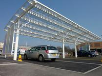 Automobile parkings from polycarbonate. A canopy