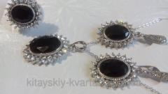 Набор с черным агатом - серьги кольцо подвеска на