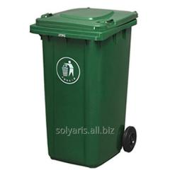 Trash bin street on wheels with a cover, 120 l.