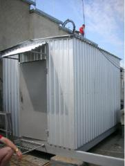 The container installed on a roof for placement of