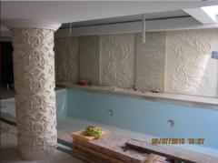 Барельефы, горельефы, декорации для бассейнов