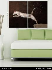 Модульная картина-часы Кошка, код 1С-197-2p-W
