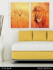 Модульная картина-часы Лев в пустыне, код 1С-52-2p-W
